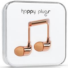 Ecouteur stéréo avec microphone et télécommande HAPPY PLUGS- Chrome Pink Gold