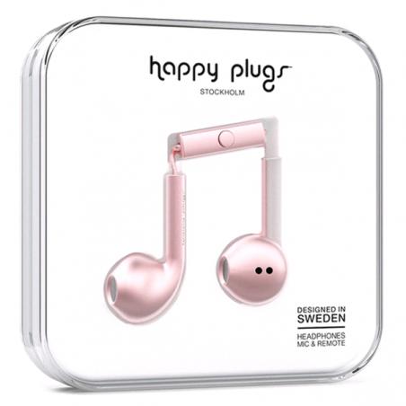 Écouteurs avec micro et télécommande  Happy Plugs Auriculares Plus Rose