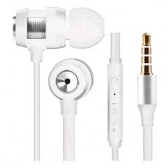 Ecouteur VOLKANO métal avec micro - blanc