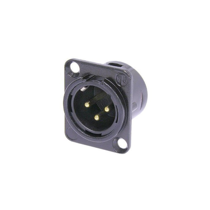 Embase XLR série D mâle noire contacts or