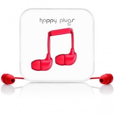 Ecouteurs avec micro et télécommande  - HAPPY PLUGS  ROUGE