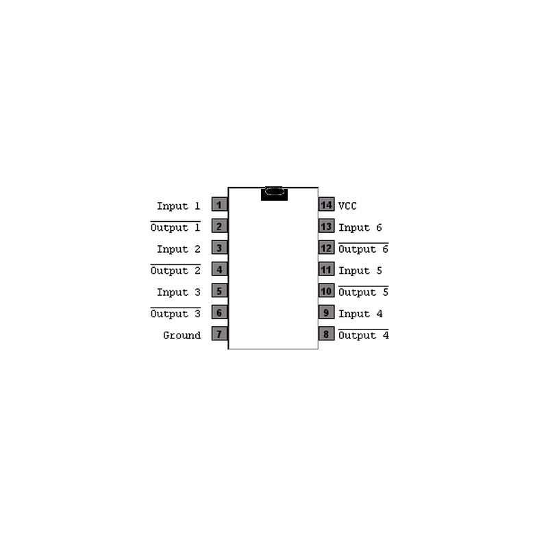 Circuit Intégré TTL 74005 Sextuple inverseur à sortie collecteur ouvert