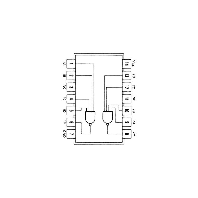 Circuit Intégré TTL 74022 Double porte NAND à 4 entrées et sortie à collecteur ouvert