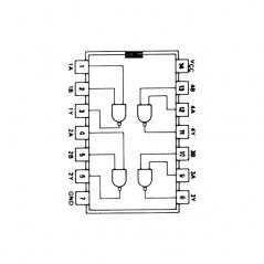 Quadruple porte NAND à 2 entrées et sortie à collecteur ouvert
