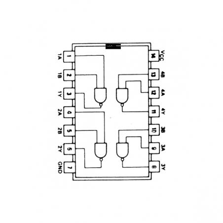 Circuit Intégré TTL 74026 Quadruple porte NAND à 2 entrées et sortie à collecteur ouvert