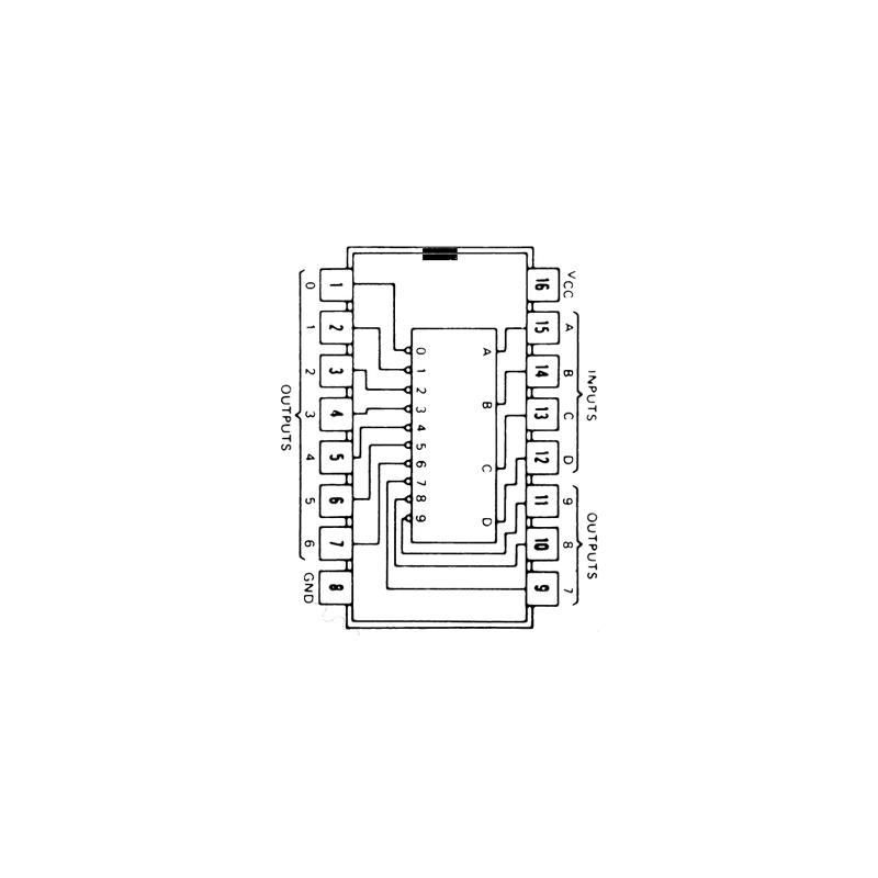 Circuit Intégré TTL 74042 Décodeur BCD/décimal (1 parmi 10)