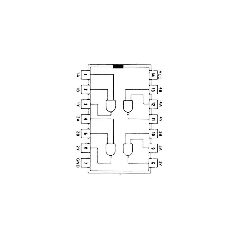 Circuit Intégré TTL 74037 Quadruple porte NAND à 2 entrées