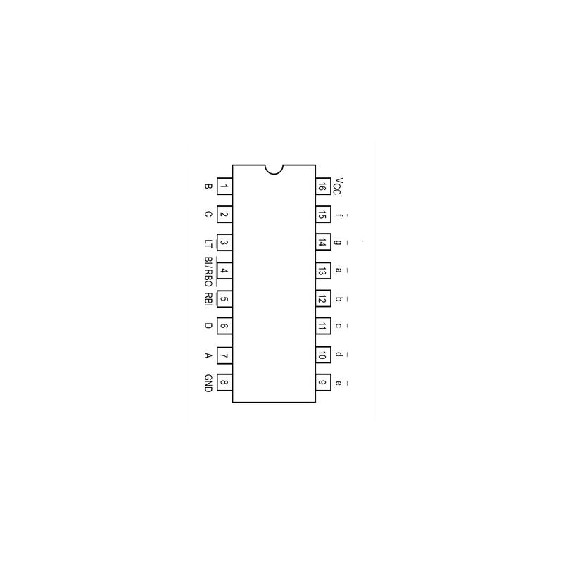 Circuit Intégré TTL 74047 Transcodeur BCD/sept segment et sorties à collecteur ouvert (15 V)