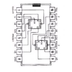 Circuit Intégré TTL 74109 Double bascule JK déclanchée  par un flanc ascendant
