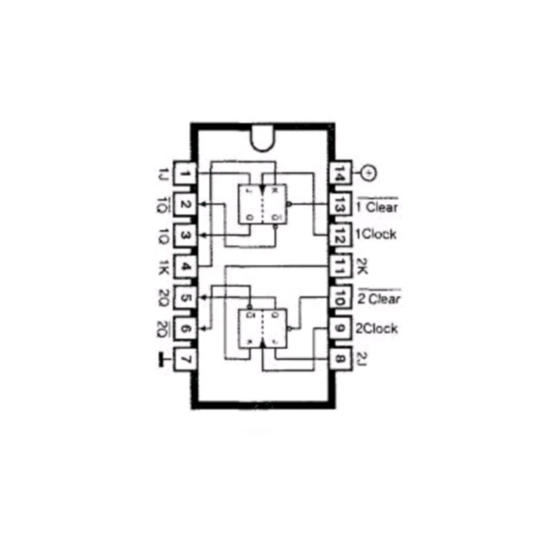 Circuit Intégré TTL 74107 Double bascule JK maitre esclave