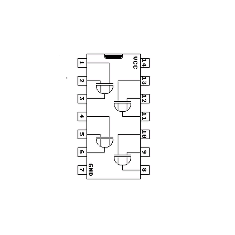 Quadruple porte EXOR à 2 entrées à trigger de Schmitt