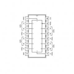 Quadruple sélecteur de données/multiplexeur non inverseur 2 vers 1