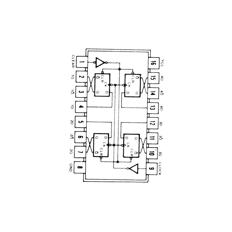 Circuit Intégré TTL 74175 Quadruple bascule D déclenchée par un flanc