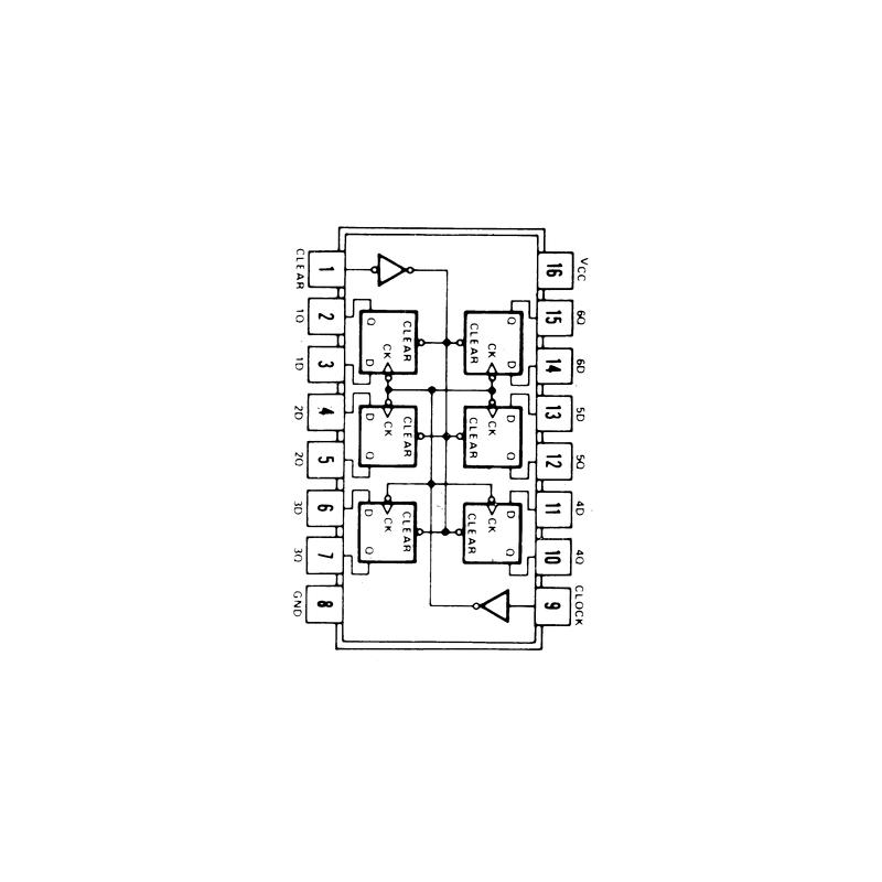 Circuit Intégré TTL 74174 Sextuple bascule D avec effacement