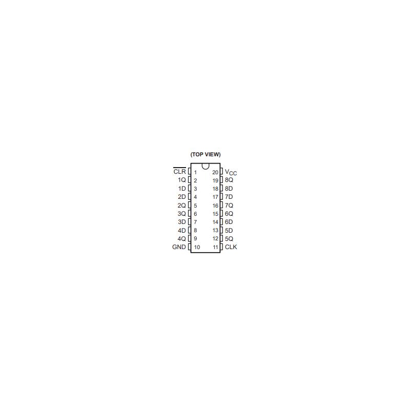 Octuple bascule D avec remise à zéro commune