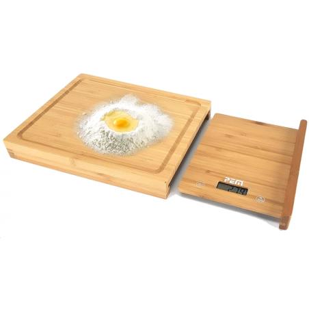 Balance culinaire + Planche à découper en bamboo - 28 cm - Ecran LCD - Pem