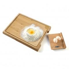 Balance culinaire + Planche à découper en bamboo - 38 cm - Ecran LCD - Pem