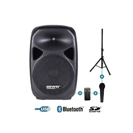 """ENCEINTE ACTIVE 12"""" 200W + MICRO + STAND"""