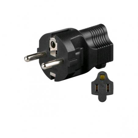 Adaptateur de prise électrique US Type F Type B Noir