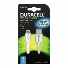 CABLE MICRO USB 1 M BLANC DURACELL