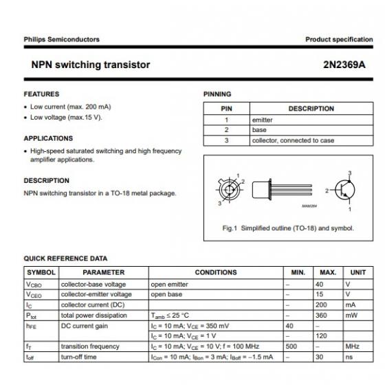 Transistor NPN   SS 40V 02A 036W 12 15ns  B 40