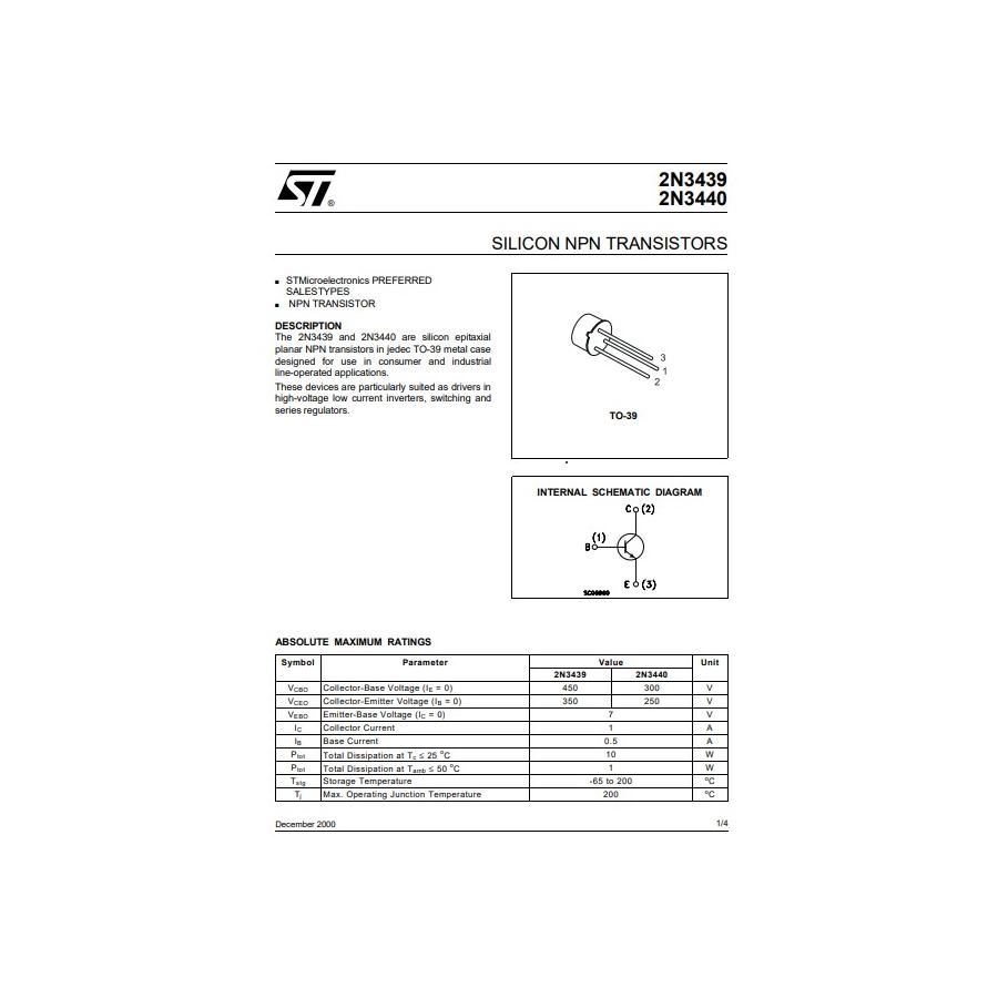 Transistor NPN  S Vid  450 350V  1A 1W