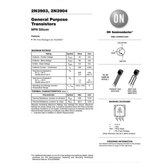 Transistor NPN   Uni  60V 02A  0625W 300MHz  B 100