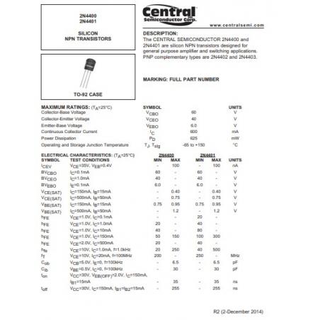 Transistor  NPN  Uni 60V  06A  0625W 35 255ns B 100