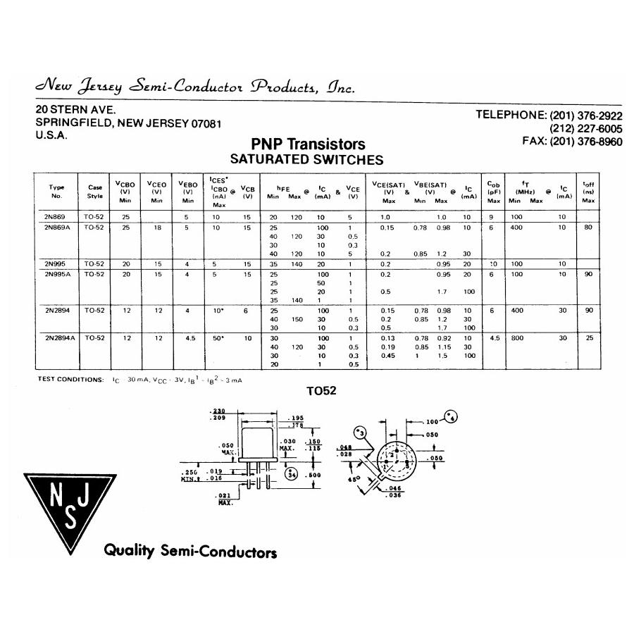Transistor PNP HF S  25V  02A  036W  300MHz