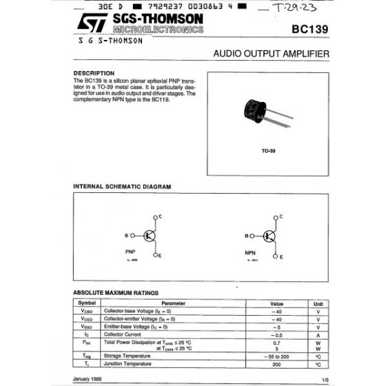 Transistor NPN NF Tr E  40V  0 5A  0 7W