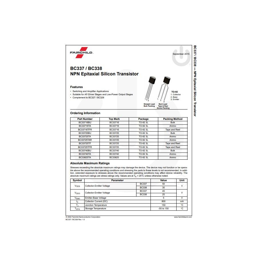 Transistor NPN NF Tr  30V  0 8A  0 625W  100MHz