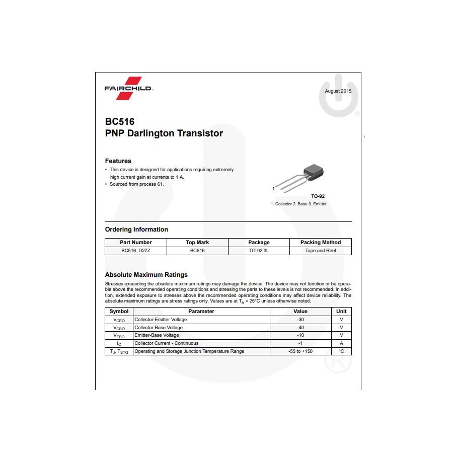 Transistor PNP Darlington Uni 40V  0 4A  0 625W  250MHz  B 30k