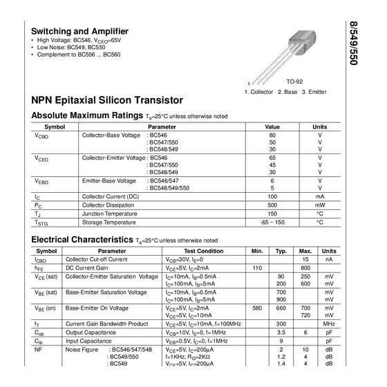 Transistor NPN Uni 30V ra  0 1A  0 5W   300MHz