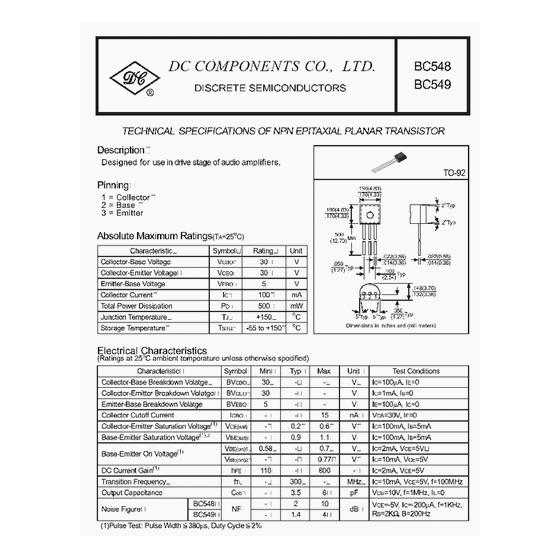 Transistor NPN Uni  30V  0 1A  0 5W  300MHz
