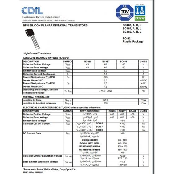 Transistor NPN NF Tr E  45V  1A  0 625W  200MHz