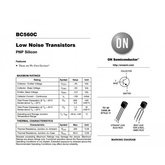 Transistor PNP Uni  50V ra  0 1A  0 5W 150MHz