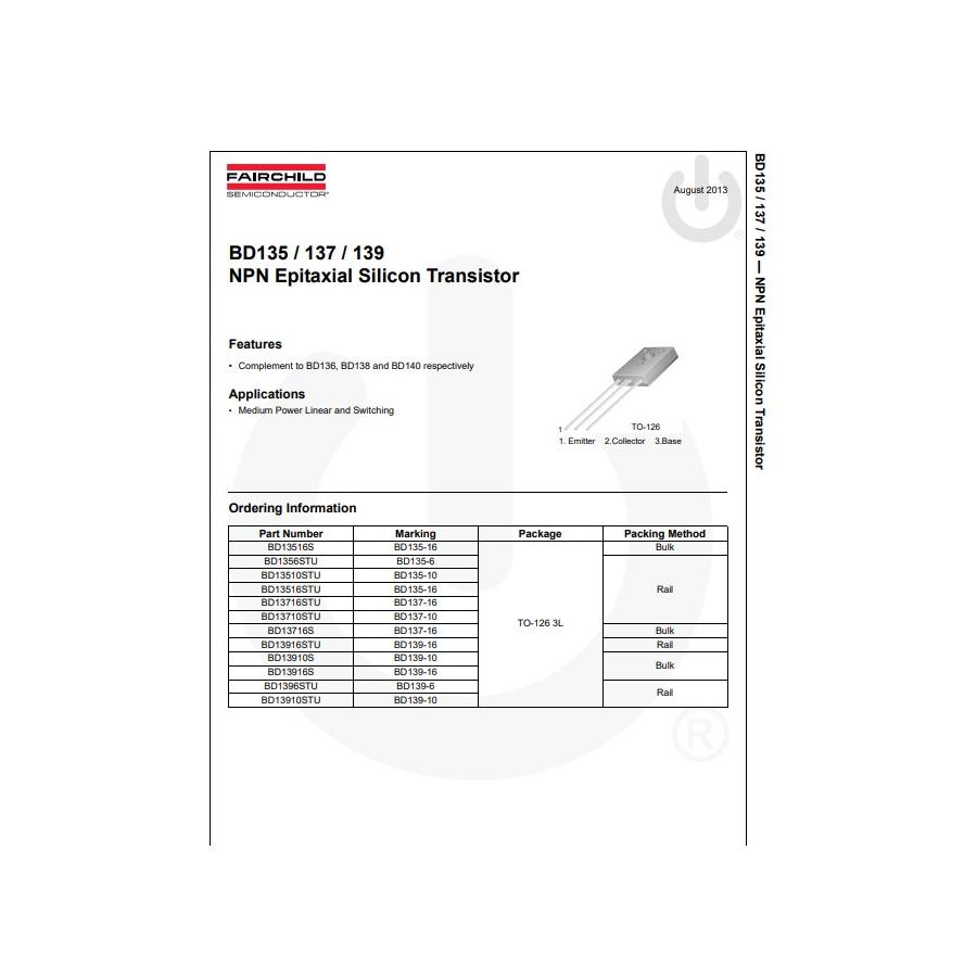 Transistor NPN NF L  60V  1 5A  12 5W Tc 45° 50MHz