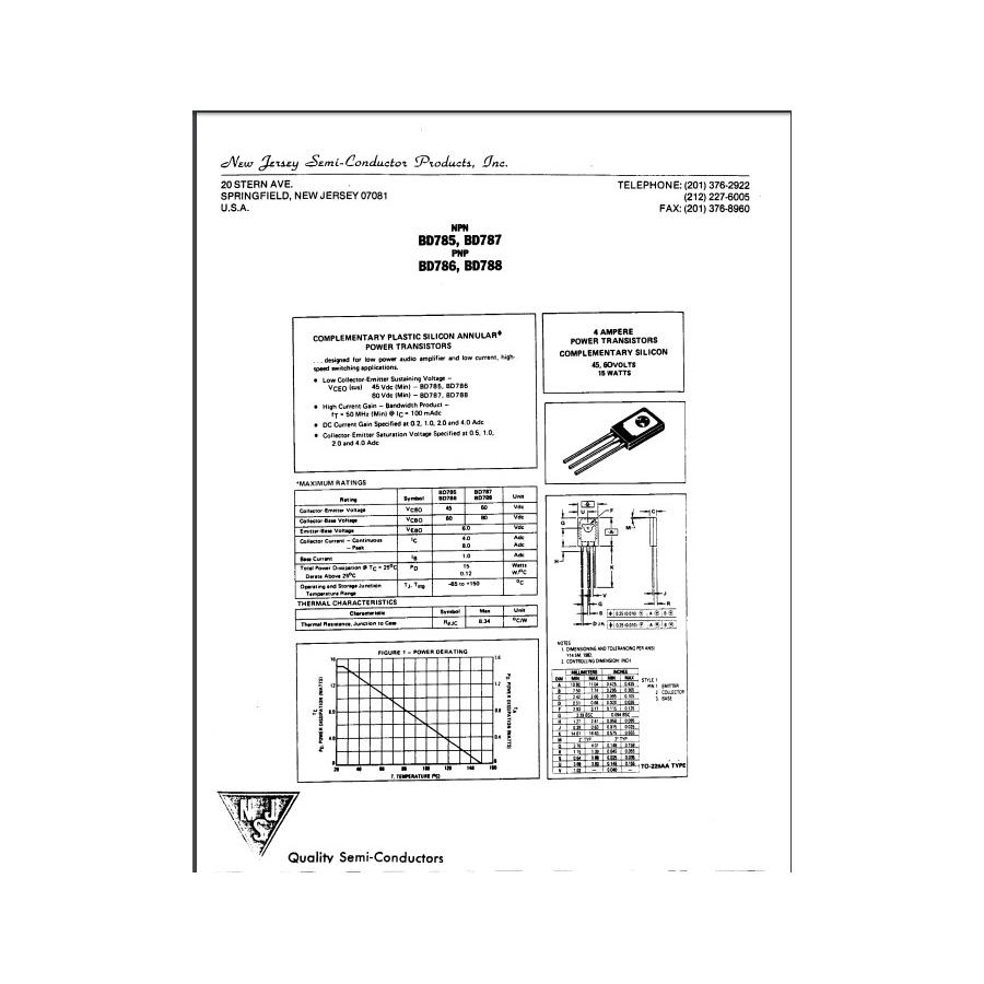 Transistor NPN NF L  60V  4A  15W  50MHz