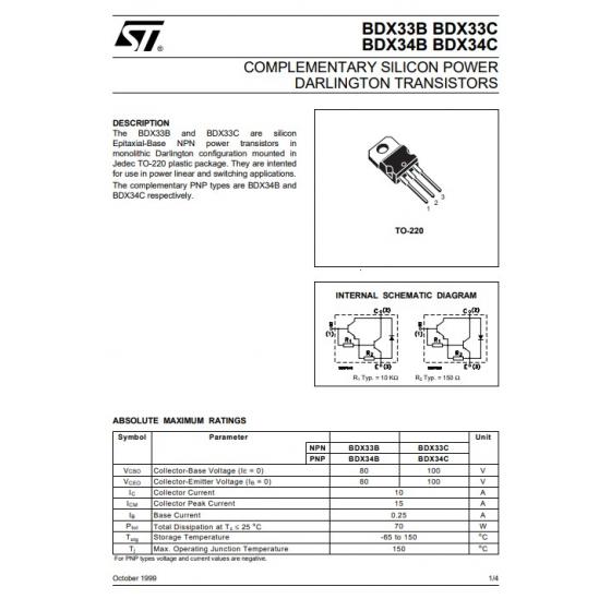 Transistor NPN Darlington NF L  100V  10A  70W  20MHz  B  750