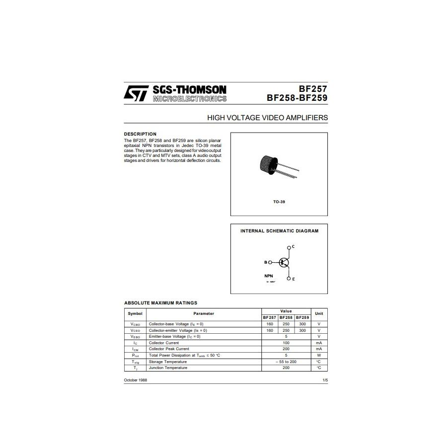 Transistor NPN Vid  300V  0 1A  0 8W 90MHz