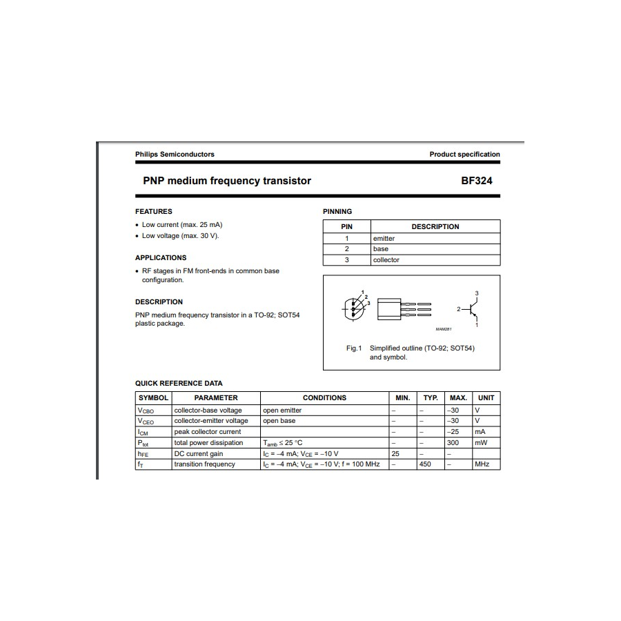 Transistor NPN FM VHF V  450MHz