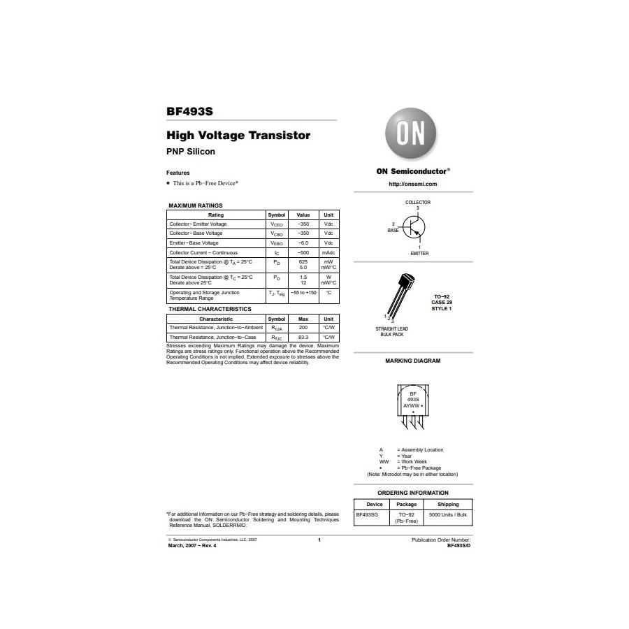 Transistor PNP Vid  300V  0 5A  0625W  50MHz