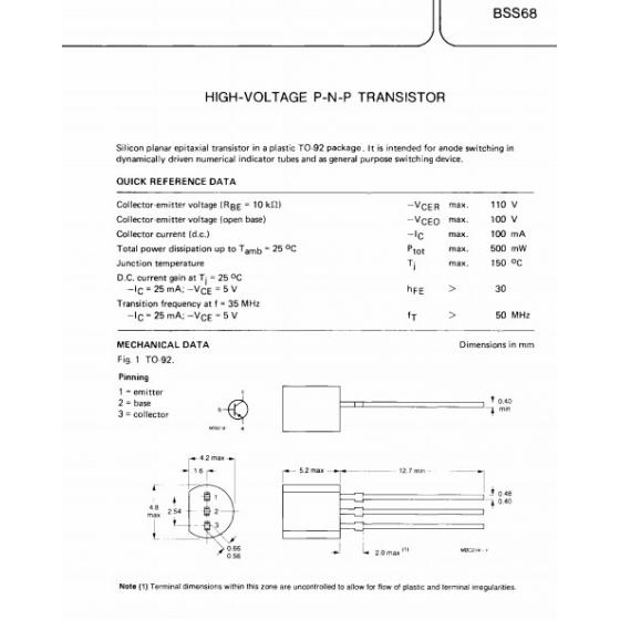 Transistor PNP Nix  110V 100mA 500mW 50MHz