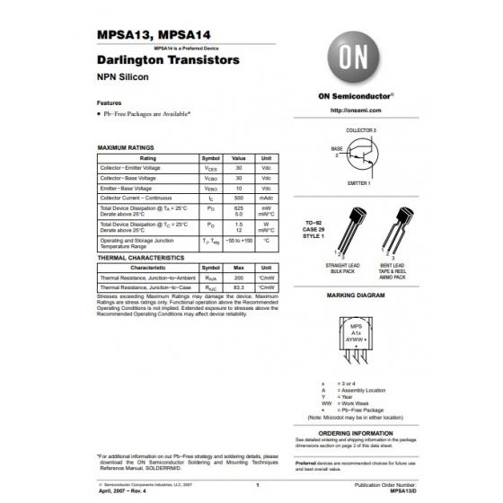 Transistor NPN Darlington Uni  30V  0 5A  0 625W  125MHz