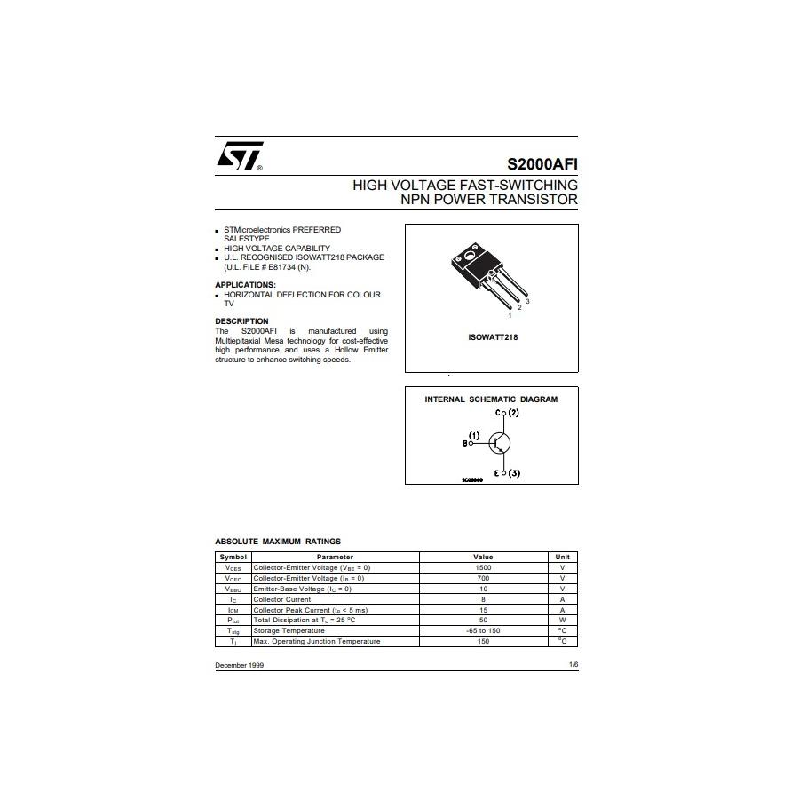 Transistor NPN CTV HA SMPS  1500V  8A  125W  Iso 50W