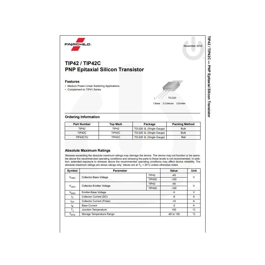Transistor PNP NF L 90V  6A  65W 3MHz