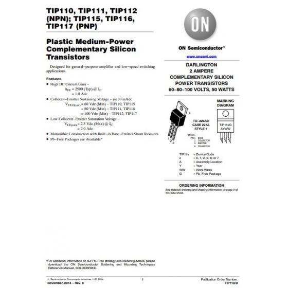 Transistor PNP Darlington  NF S L  60V  4A  50W  B 1000