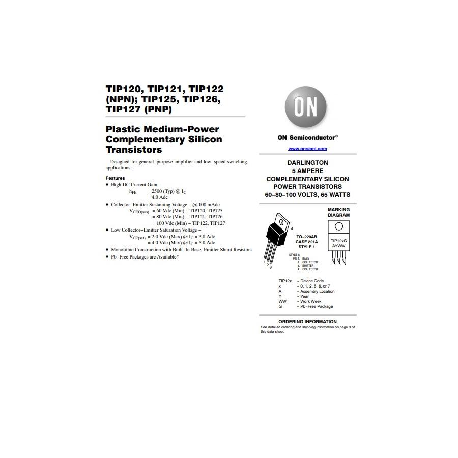Transistor NPN Darlington NF S L  60V  5A  65W  B 1000