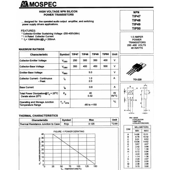 Transistor NPN SL 450 350V 1A 40W 10MHz